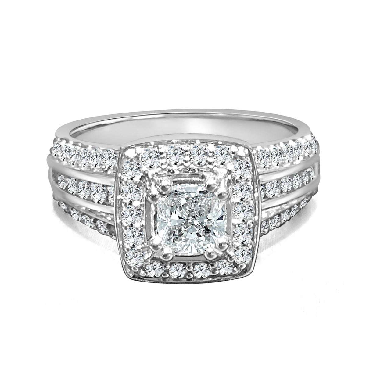 Three Row Diamond Engagement Ring With Cushion Shaped Halo And Center