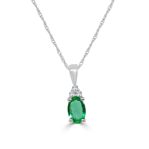 Oval Emerald And Diamond Necklace