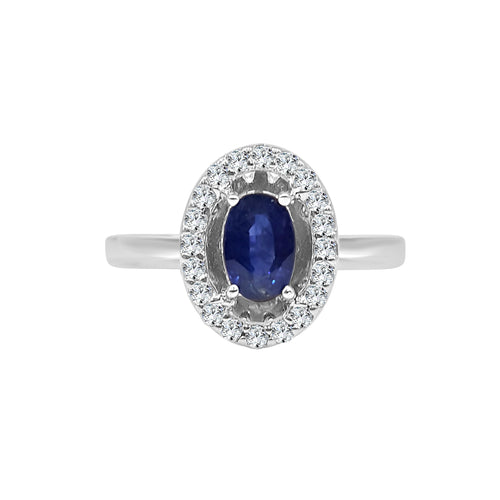 Oval Sapphire Ring With Diamond Halo