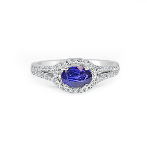 Fana Oval Sapphire Ring With Halo And Split Band