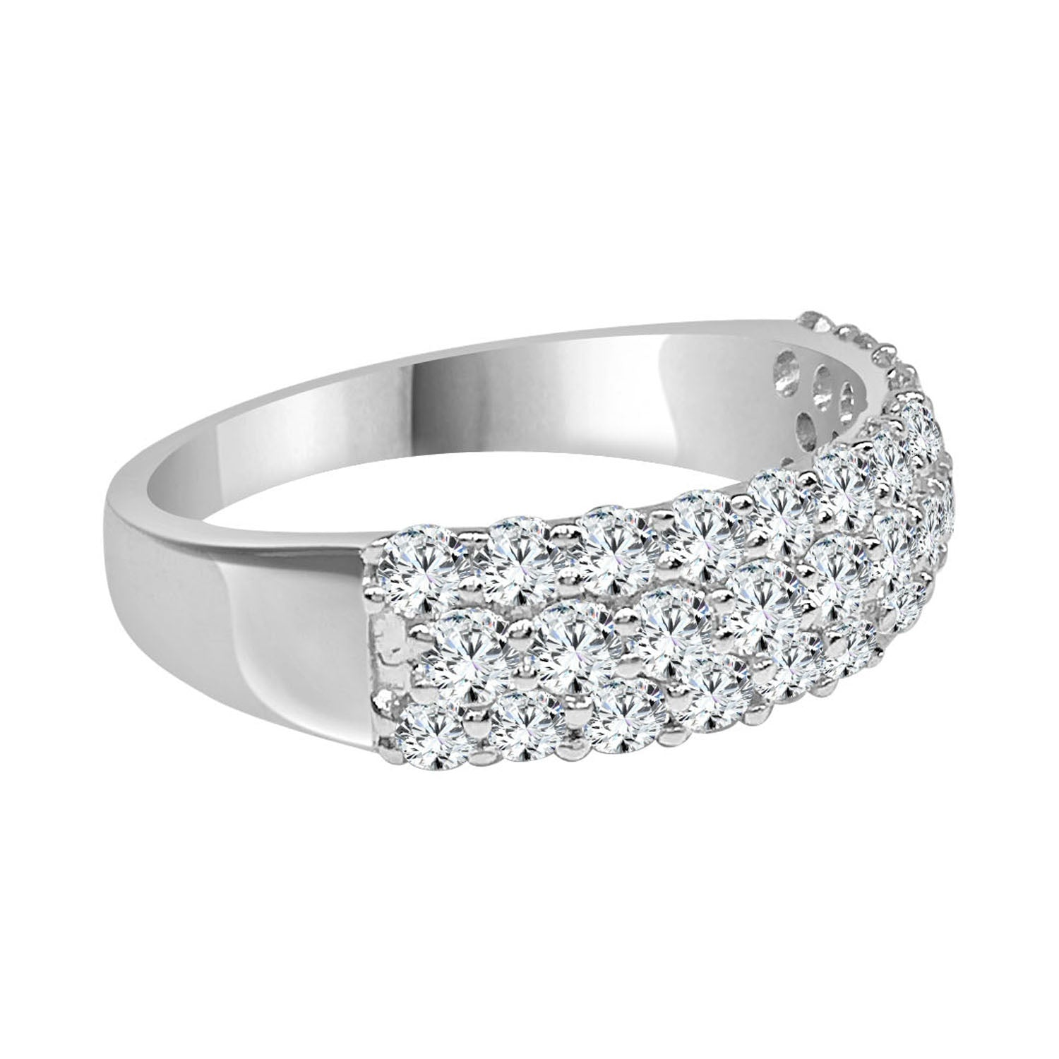Pave Diamond 3 Row Ring