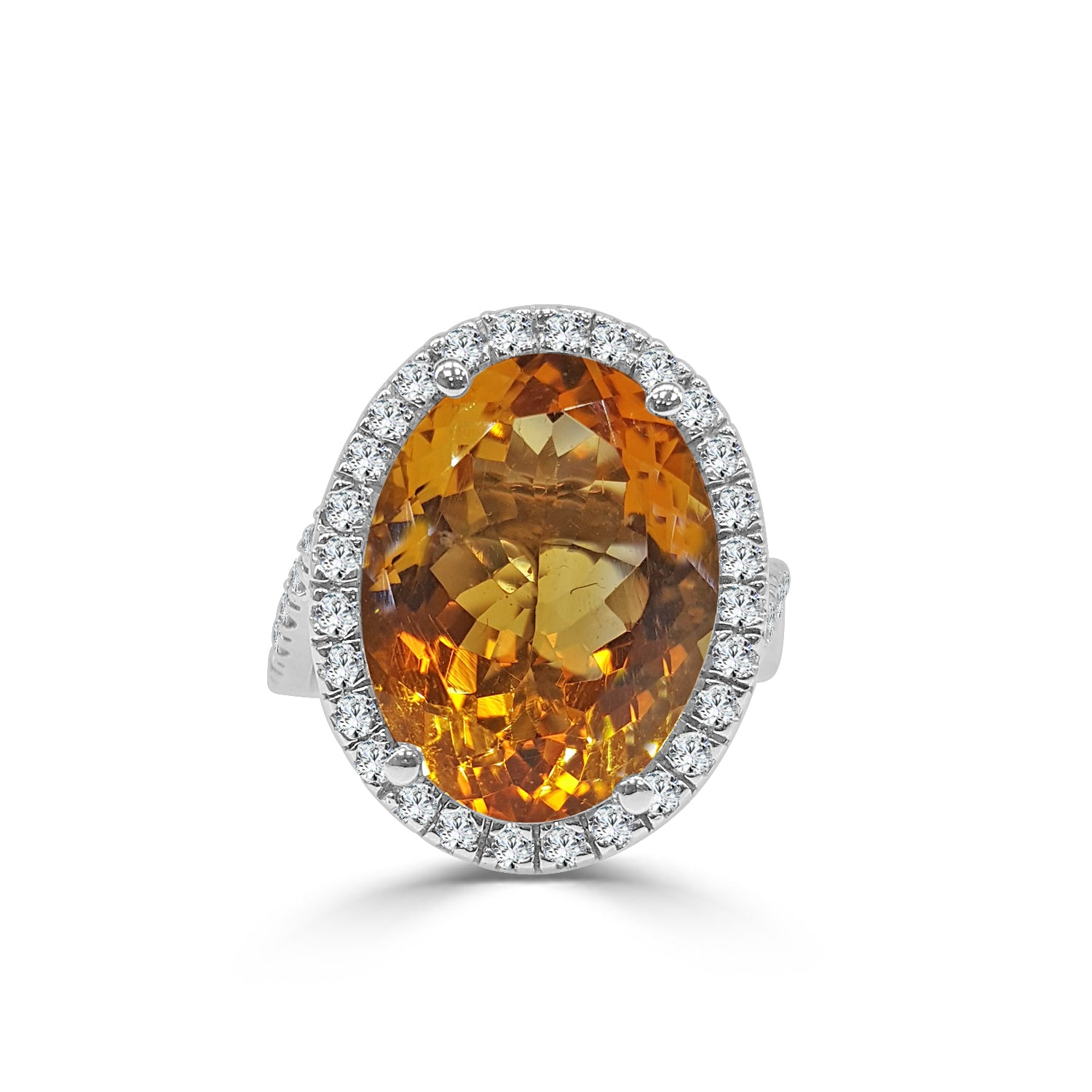 Oval 9.50 Carat Citrine With Fancy Swirl Halo