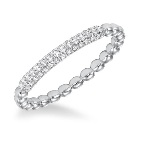 Stackable Beaded Wedding Band With Pave Diamonds