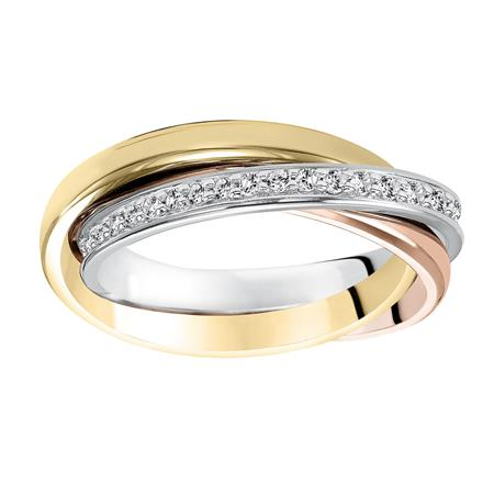 Tri Color Single Row Diamond Wedding Band