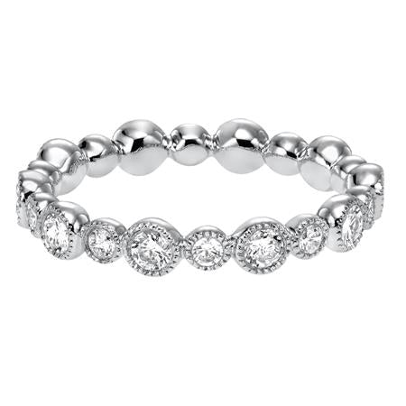 Bezel Set Alternating Size Diamond Eternity Band With Milgrain Detail