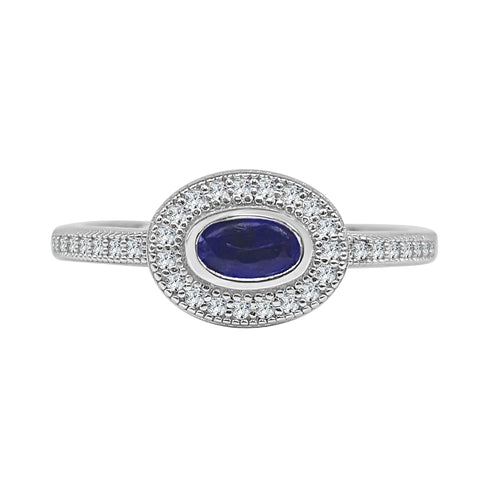 Lafonn Fancy Blue Oval Ring With Lassaire Halo And Band