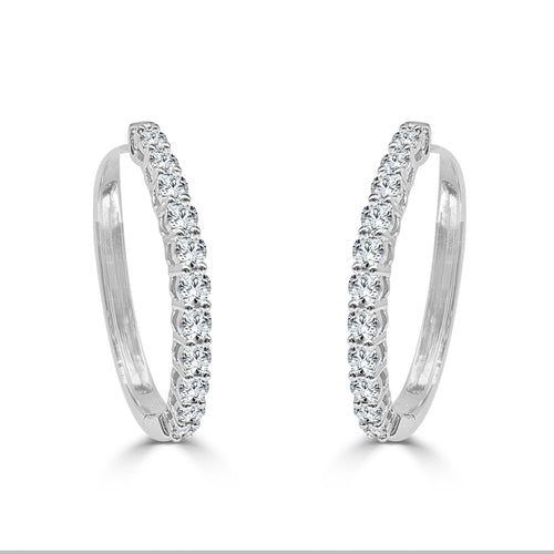 One Carat Diamond Oval Hoops