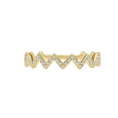 Shy Creations Diamond Zig Zag Ring In Yellow Gold