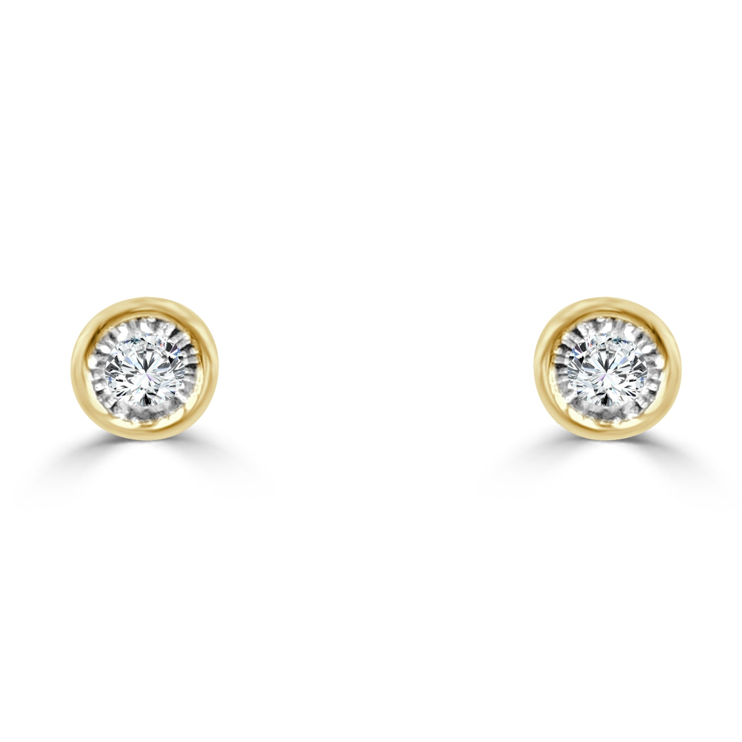 union earrings set stud bezel w diamond platinum