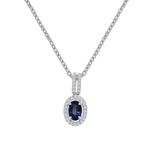 Fana Sapphire and Diamond Oval Halo Pendant With Open Bale