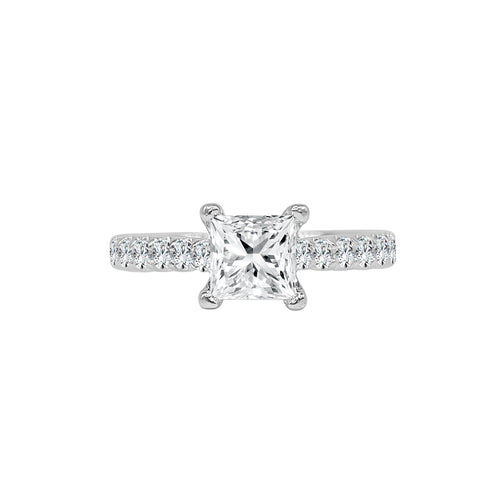 Princess Cut Solitaire With Diamond Band
