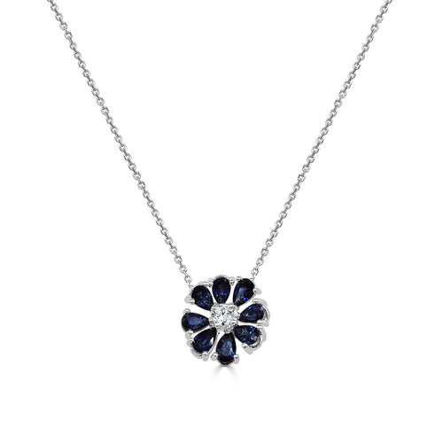 Curved Sapphire Flower Necklace