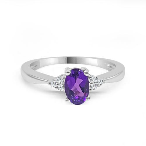 Oval Amethyst And Diamond Ring
