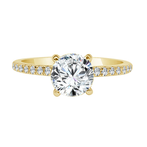 Solitaire With Yellow Gold Mounting And Diamond Band