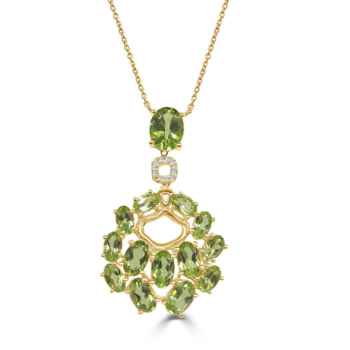 Diamond And Peridot Fancy Necklace In Yellow Gold