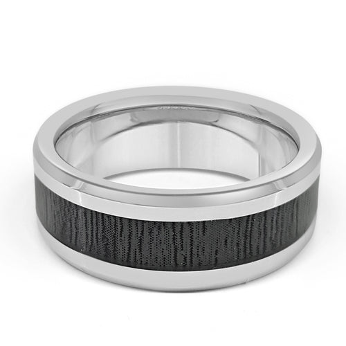 Tungsten Band With Black Patterned Center