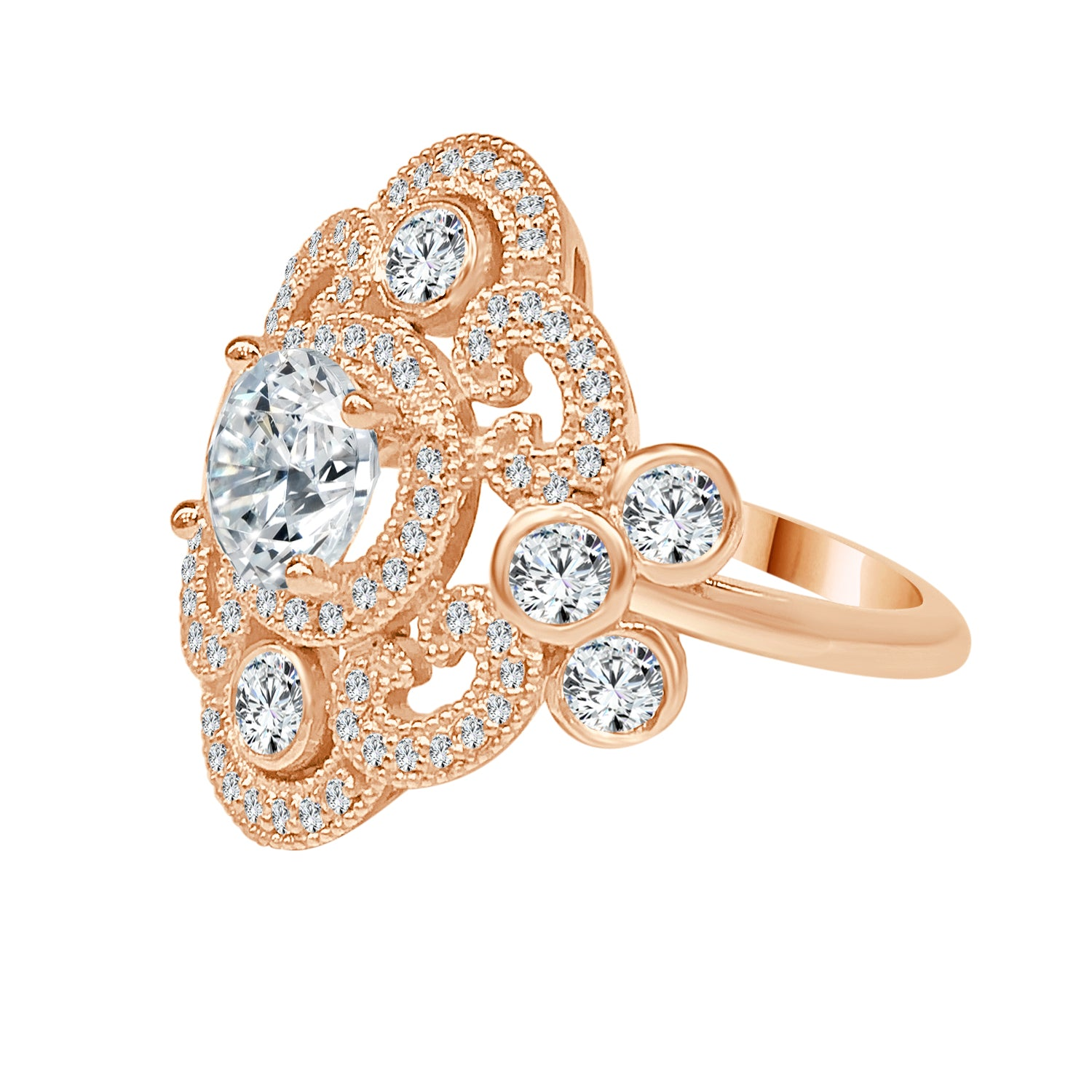 Yellow Gold Diamond Milgrain Antique Style Fancy Moutning