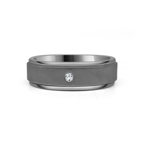 Single Diamond Titanium Band