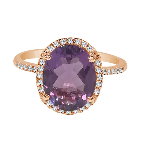Oval 2.50 Carat Amethyst With Diamond Halo