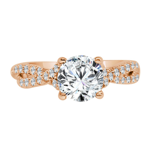 Diamond Solitaire With Rose Gold Diamond Twist Band