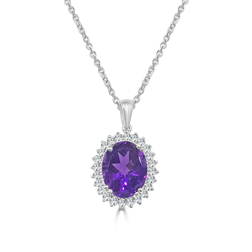 Oval Amethyst Necklace With Fancy Diamond Necklace