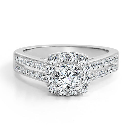 Double Shank Diamond Halo Engagement Ring