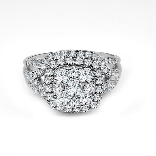 Cluster Diamond Ring With Halo And Fancy Band