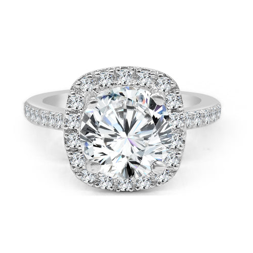 Platinum Cushion Cut Halo With Diamond Band Ring