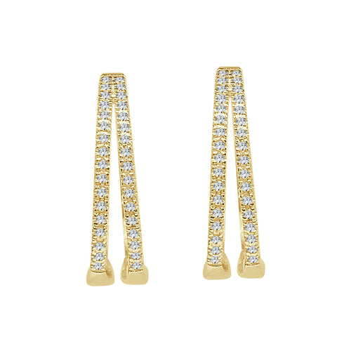 Yellow Gold 2 Row Hoop Earrings