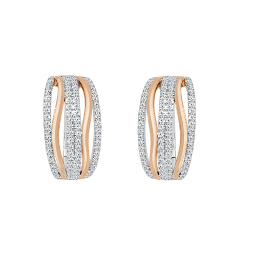 Fancy Two-tone Twist Diamond Hoop Earrings
