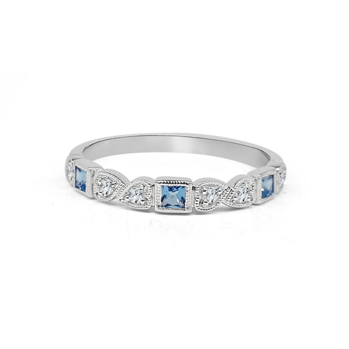 Blue Topaz And Diamond Fancy Band