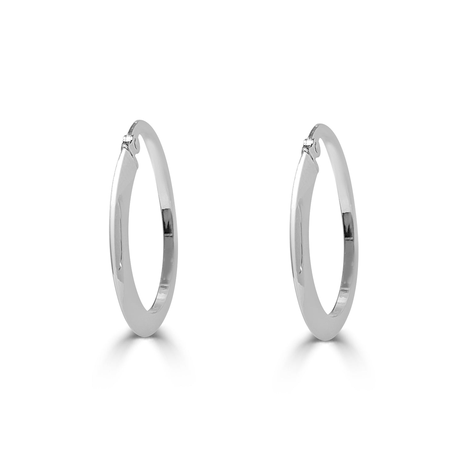 Flat Polished Oval Hoop Earrings