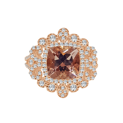 Fancy Morganite And Diamond Ring