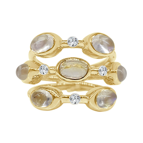 Fancy Moonstone And Diamond Split Band Ring