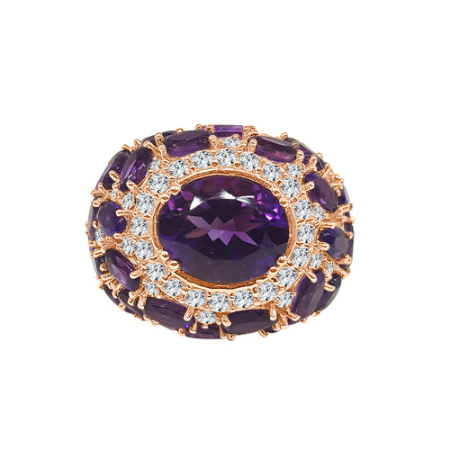 Fancy Domed Amethyst And Diamond Cocktail Ring