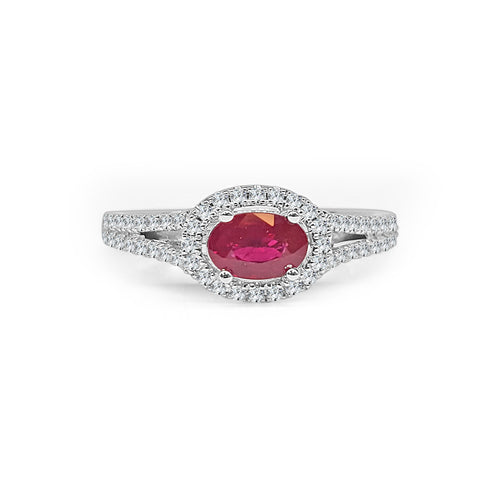 Fana Ruby With Diamond Halo And Split Band