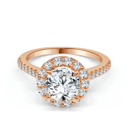 Round Halo Engagement Ring In Rose Gold