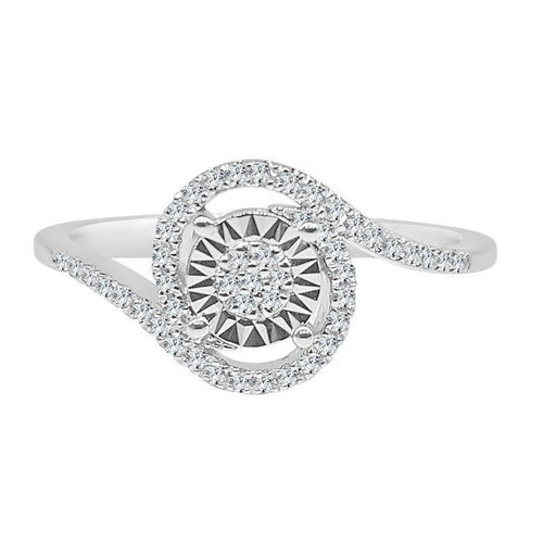 Round Miracle Set Diamond Ring With Swirl Band