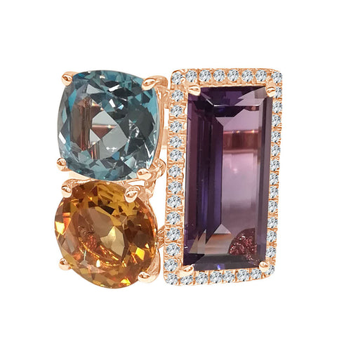 Rose Gold Amethyst Blue Topaz And Citrine Ring With A Diamond Halo