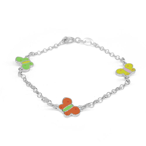 Multi-color Enamel Butterfly Childrens Bracelet