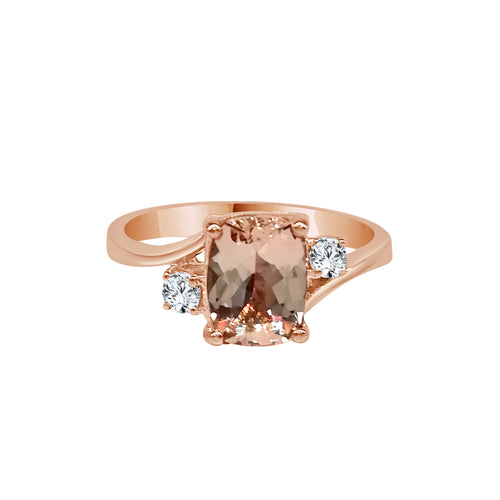 Oval Morganite And Diamond Ring With Twist Band