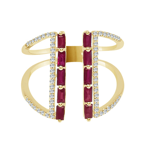 Diamond and Baguette Ruby Open Fancy Ring