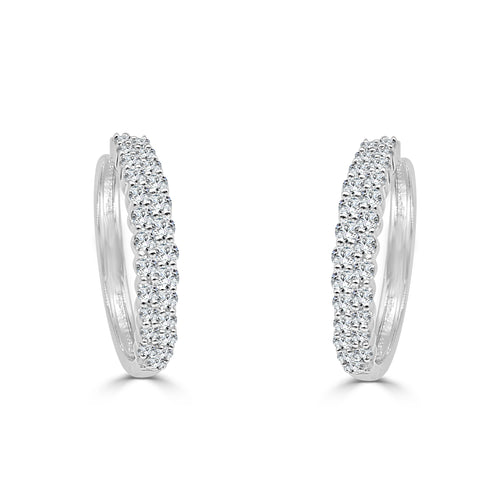 One Carat Diamond Double Row Hoop Earrings