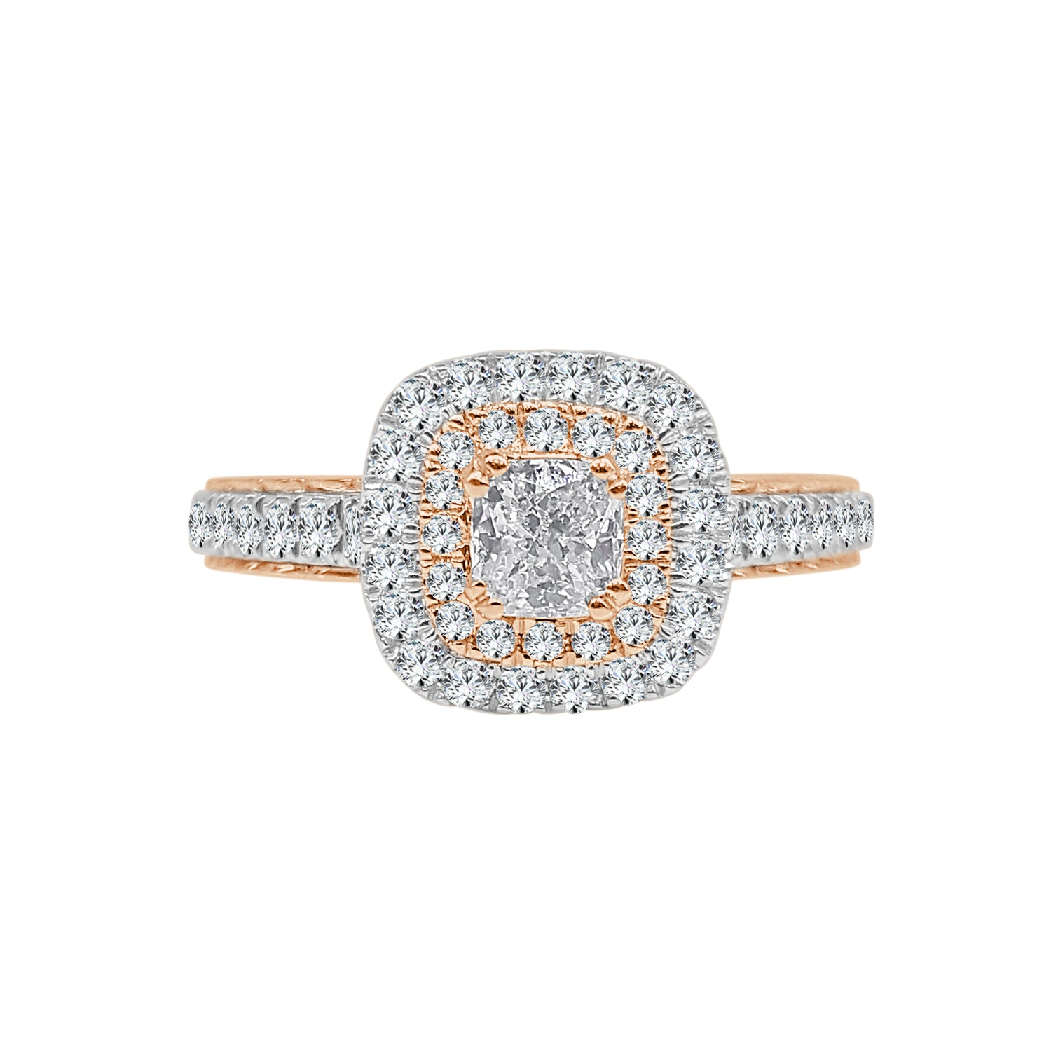 Two-tone Double Halo Diamond Engagement Ring