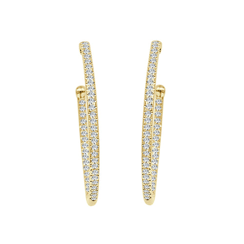 Shy Creations Oval Inside Out Diamond Hoop Earrings In Yellow Gold