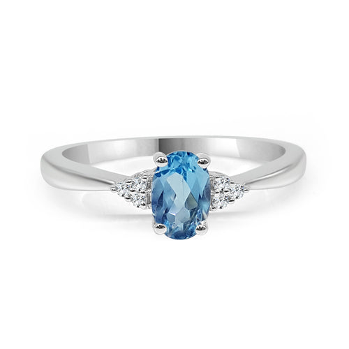 Oval Blue Topaz And Diamond Ring