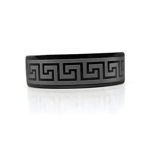 Black Greek Key Tungsten Band