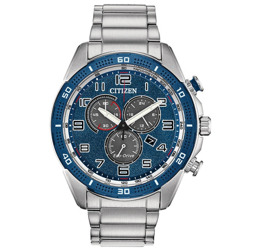 Citizen Mens Ecodrive Chronograph Watch With Blue Dial