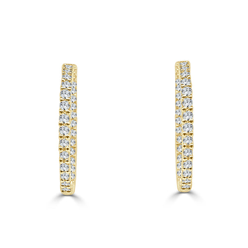 Yellow Gold 0.75 Carat Diamond Inside Out Hoop Earrings