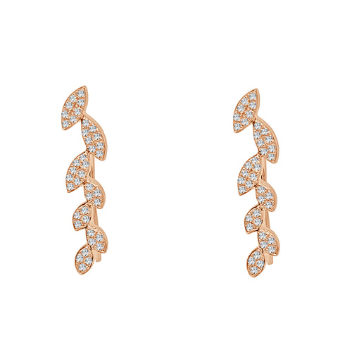 Shy Creations Quarter Carat Diamond Leaf Ear Climbers